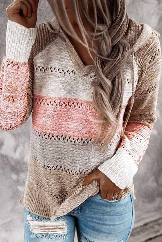 Florcoo Striped Color-Block Knitted Sweater