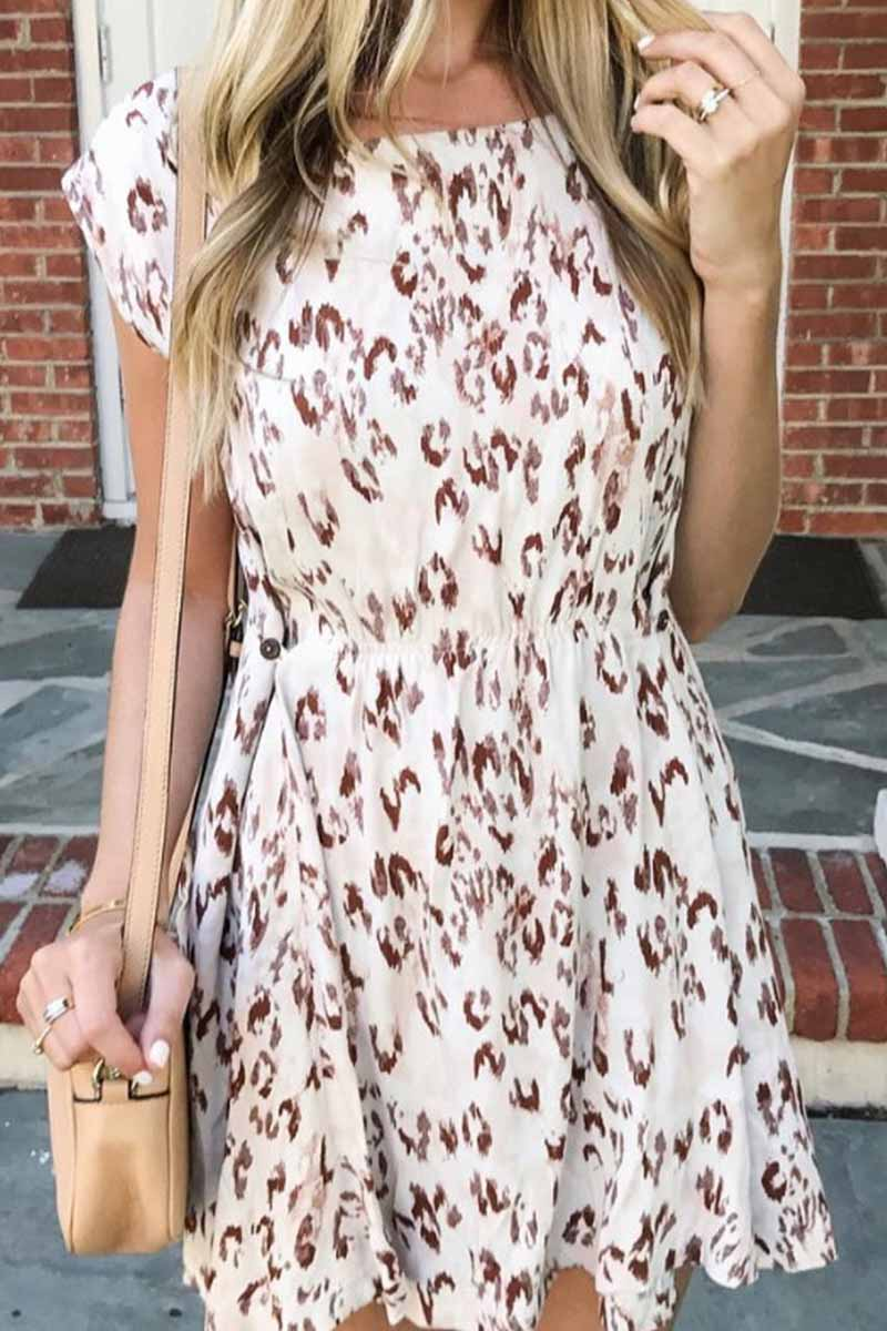 Florcoo Summer O Neck Floral Mini Dress