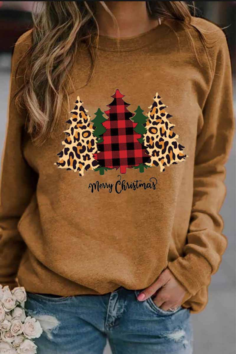 Florcoo Casual Round Neck Christmas Tree Print Tops