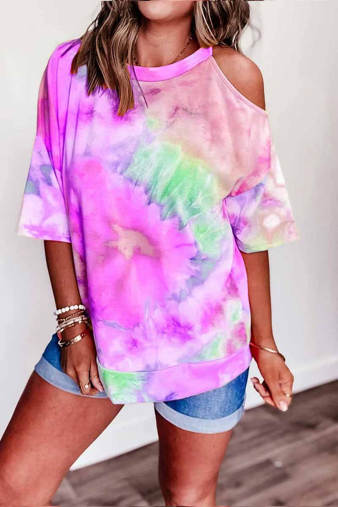 Florcoo Off-shoulder Tie-dye V-neck T-shirt