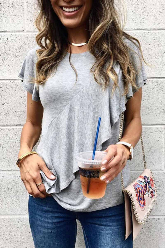 Florcoo Solid Color Loose Ruffled Casual T-shirt