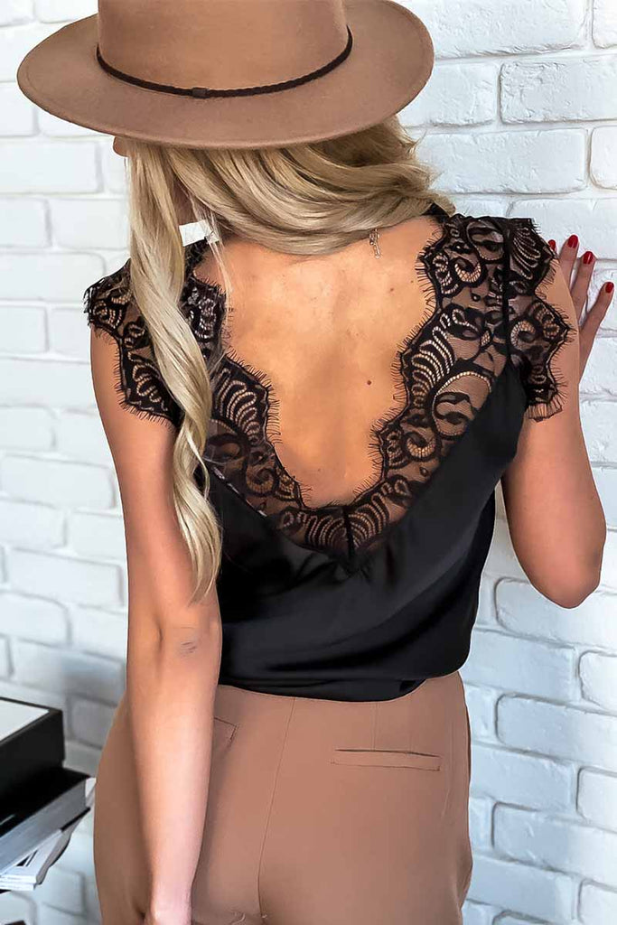 Florcoo Sexy Lace Stitching Suspender Top