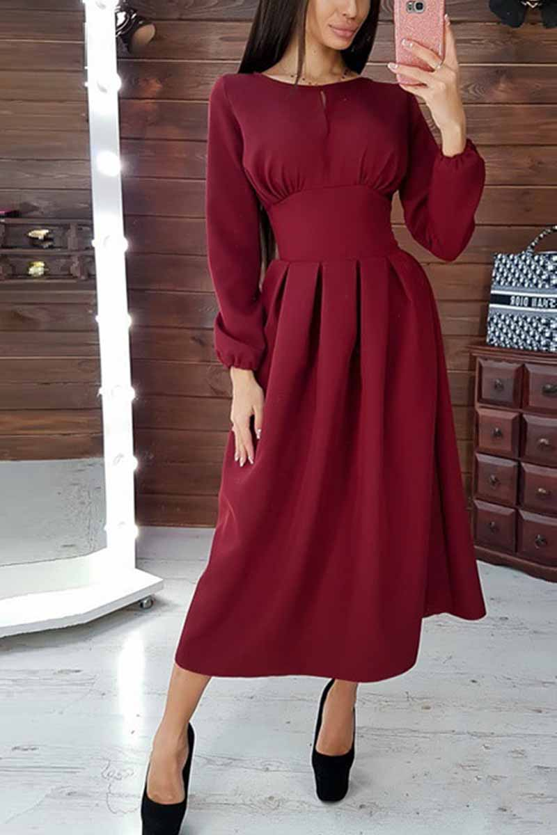 Florcoo Elegant Solid Color Long Sleeves Midi Dresses