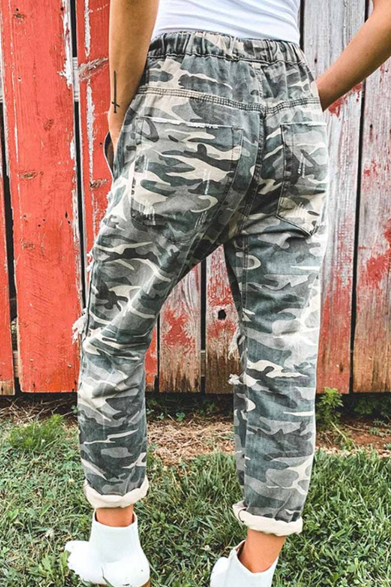 Florcoo Adjustable Waist Camouflage Bottoms With Holes