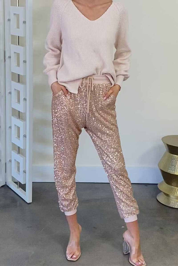 Florcoo Ruffled High Waist Drawstring Sequined Pants