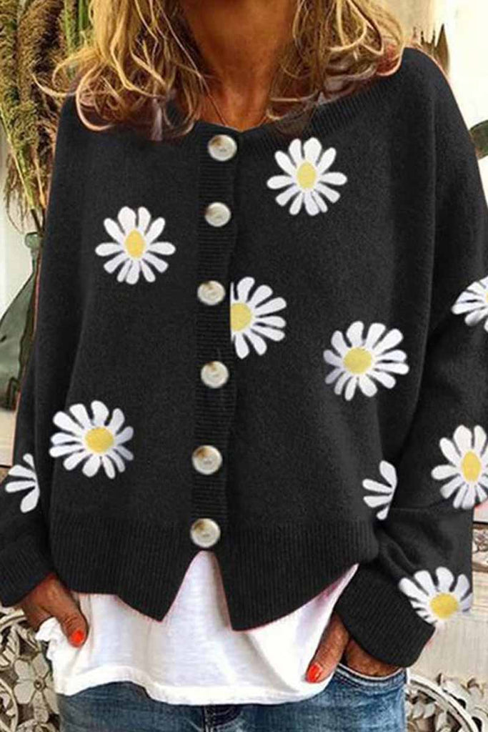 Florcoo Casual Loose Daisy Cardigan