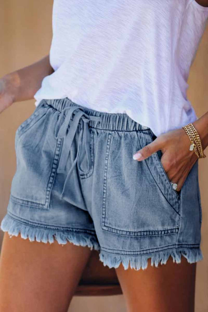 Florcoo Adjustable Tassel Pockets Design Denim Shorts(3 Colors)