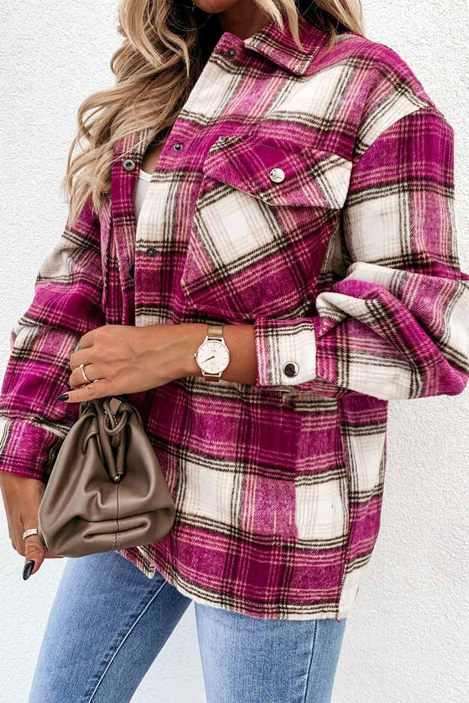 Florcoo Casual Loose Retro Plaid Stitching Shirt Jacket