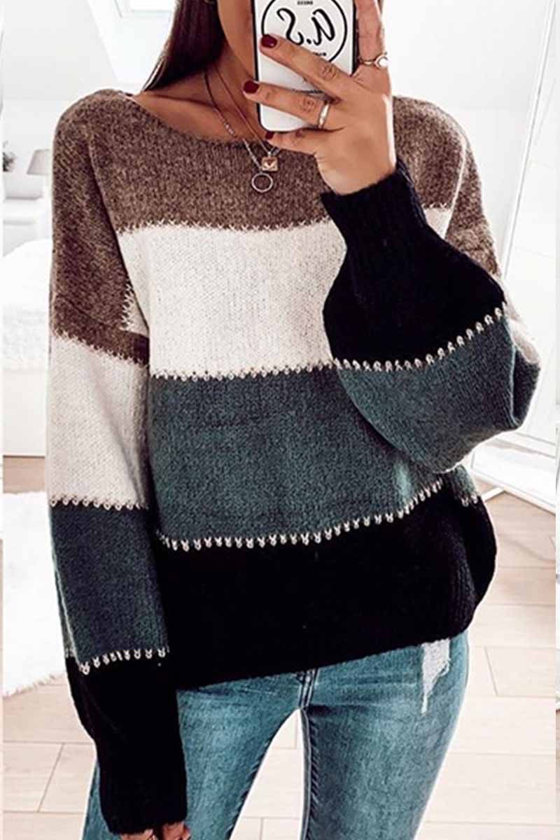 Florcoo Contrast Striped Knitted Sweater