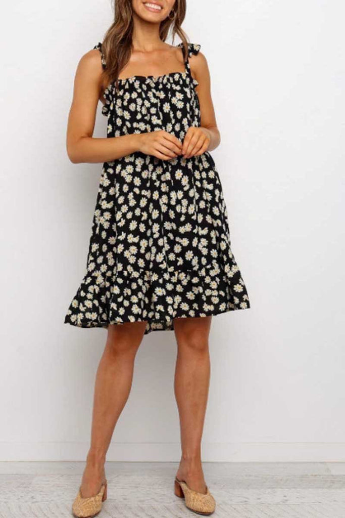 Florcoo Daisy Print Loose Dress