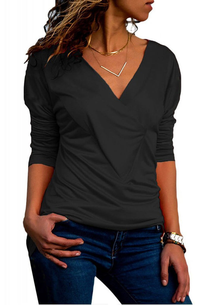 Florcoo V-Neck Solid Color Slim Top