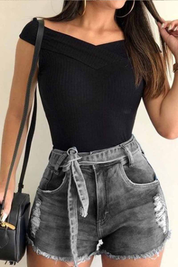 Florcoo High Waist Lace-up Denim Shorts