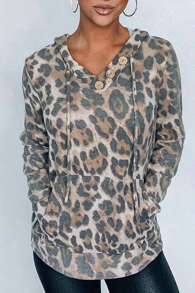 Florcoo V-neck Hooded Printed Top