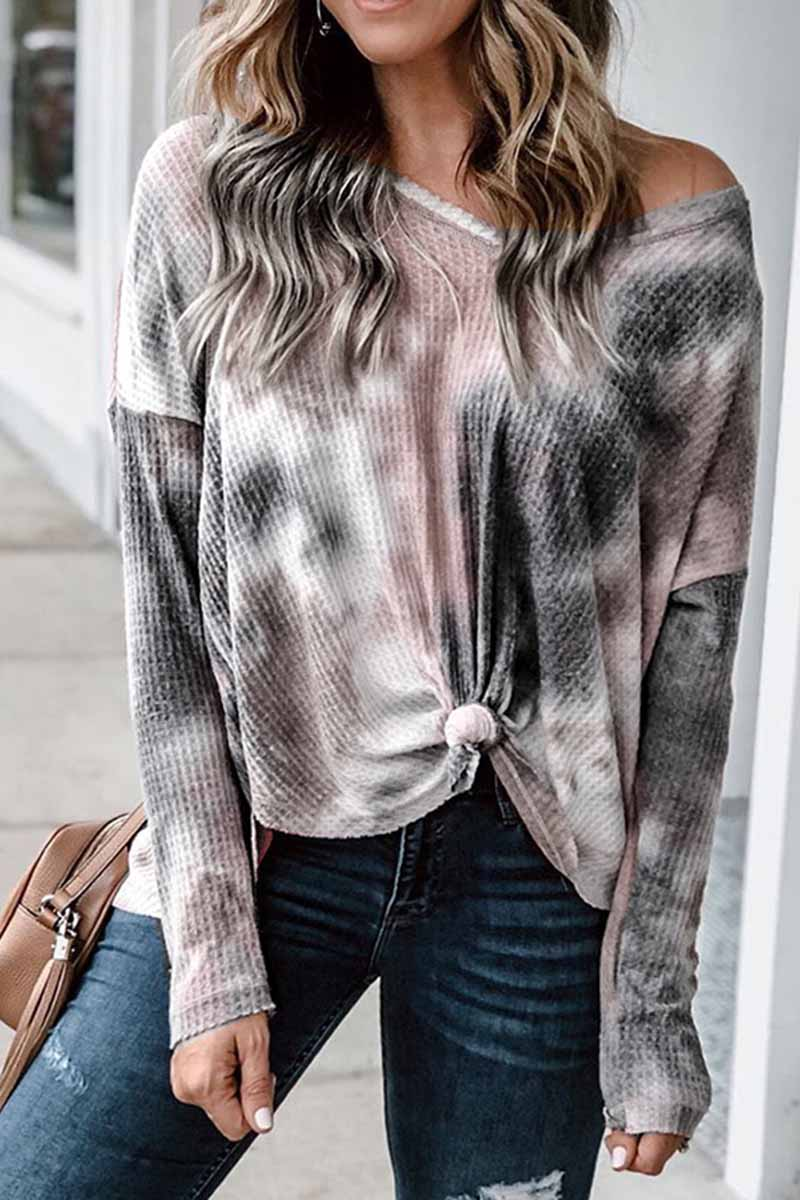 Florcoo  V-Neck Tie-dye Long Sleeve Top