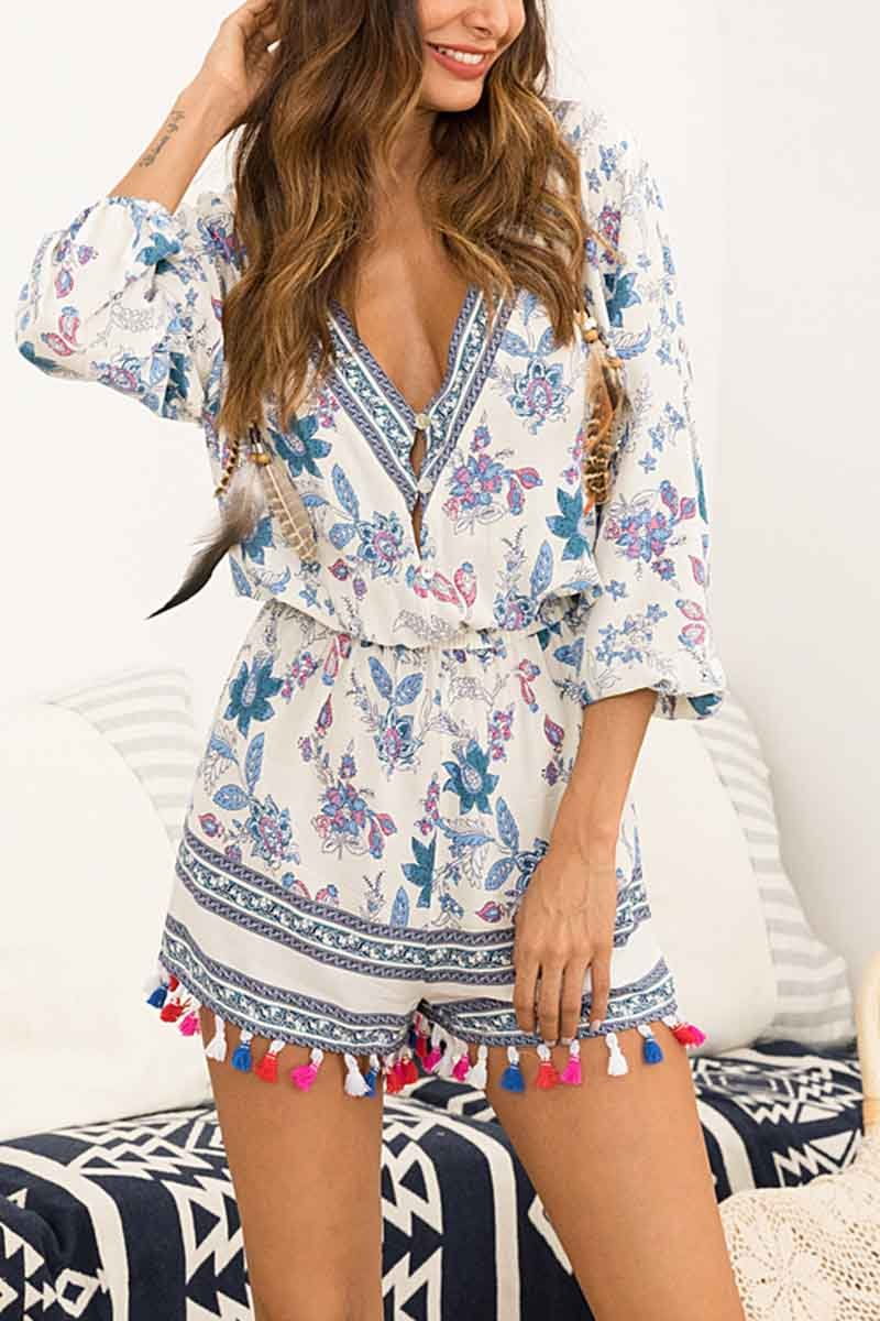 Florcoo Printed Fringed Casual Jumpsuit
