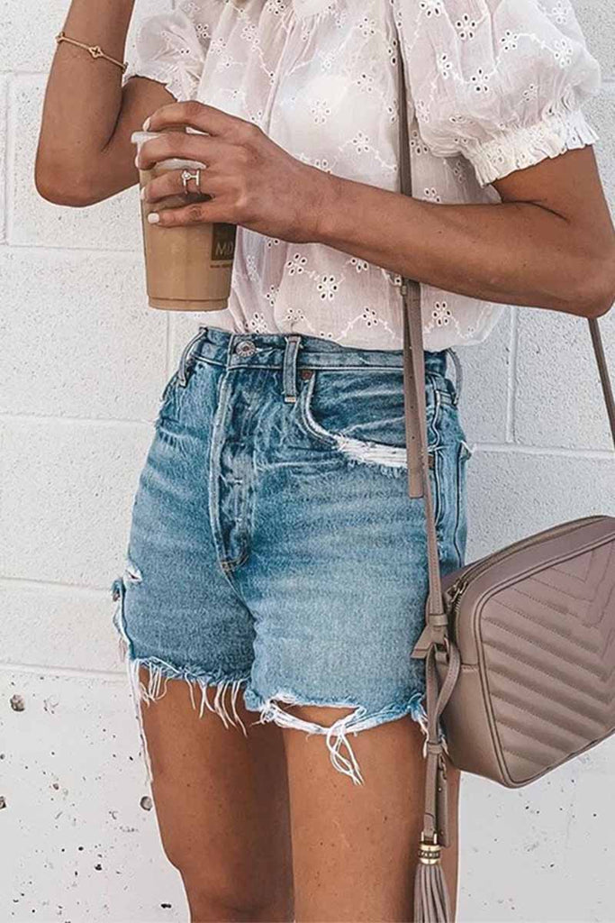 Florcoo Summer Loose Button Ripped Fringed Denim Shorts