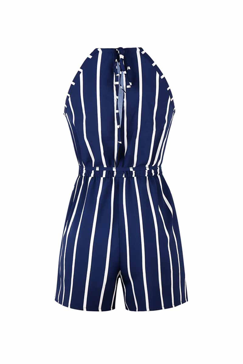 Florcoo Striped Beach Jumpsuit