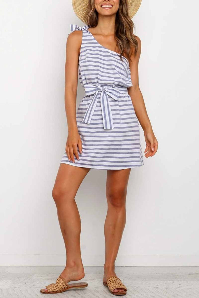 Florcoo Summer Sexy One-Shoulder Lace-Up Stripes Mini Dress