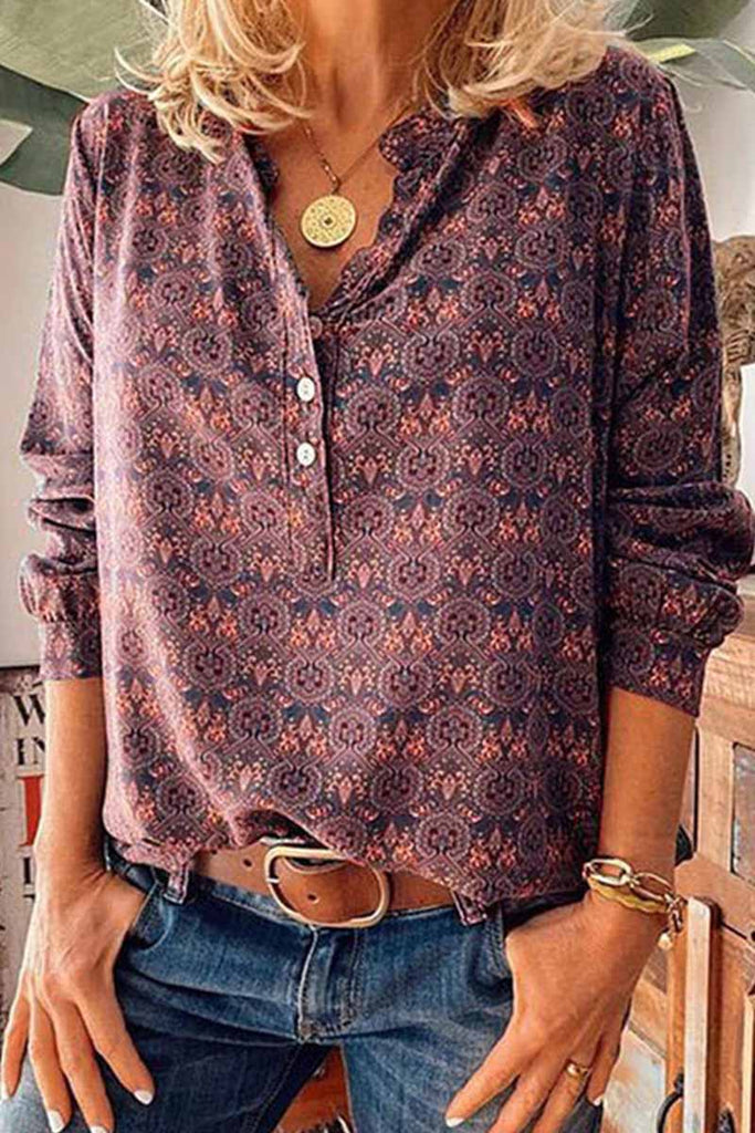 Florcoo Vintage V-Neck Button Print Shirt
