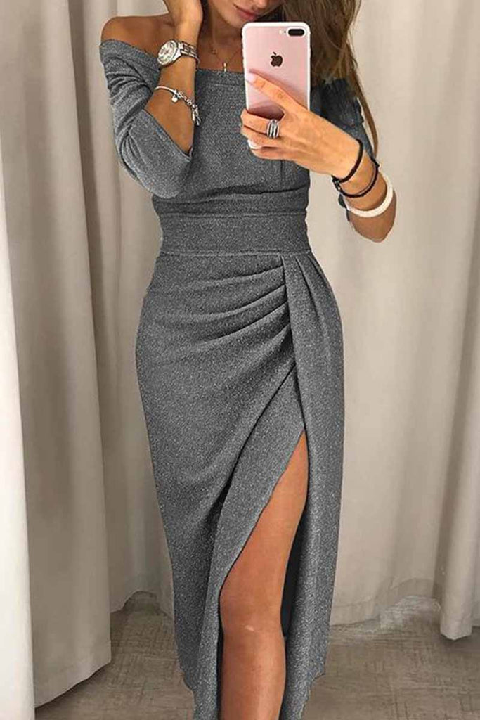 Florcoo Wrap Hip Slit Collar Maxi Dresses(8 Colors)