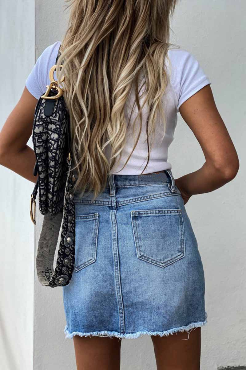 Florcoo Irregular Denim Holes Mini Skirt