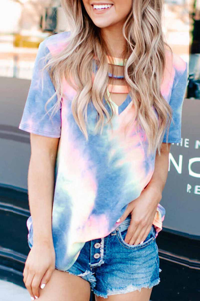 Florcoo Short-sleeve Loose Tie-dye Tops
