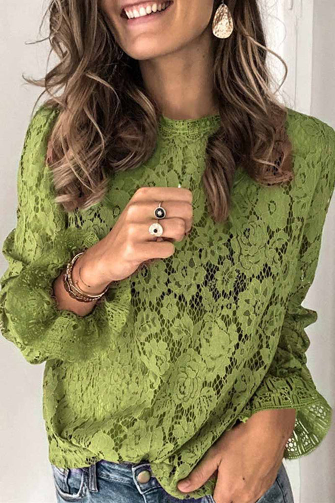 Florcoo Long Sleeve Openwork Lace Blouse