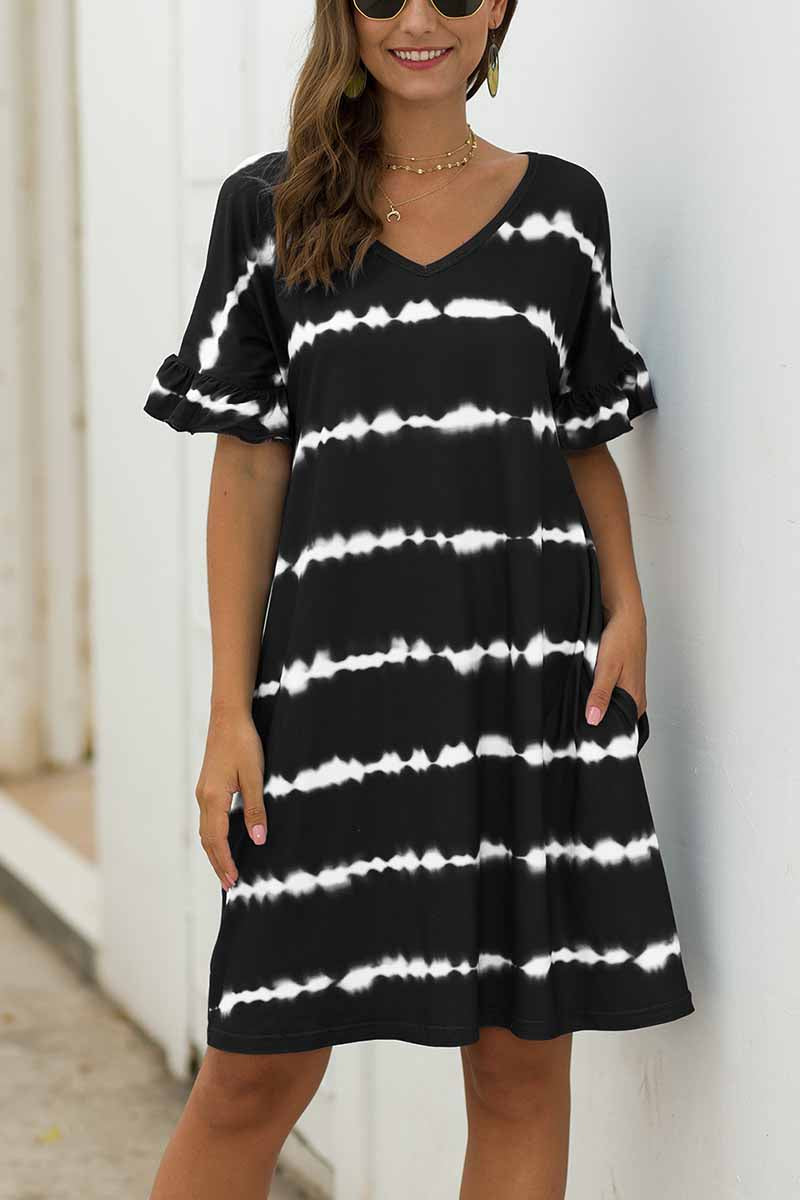 Florcoo Striped Tie-dye Casual Loose Dress With Pocket