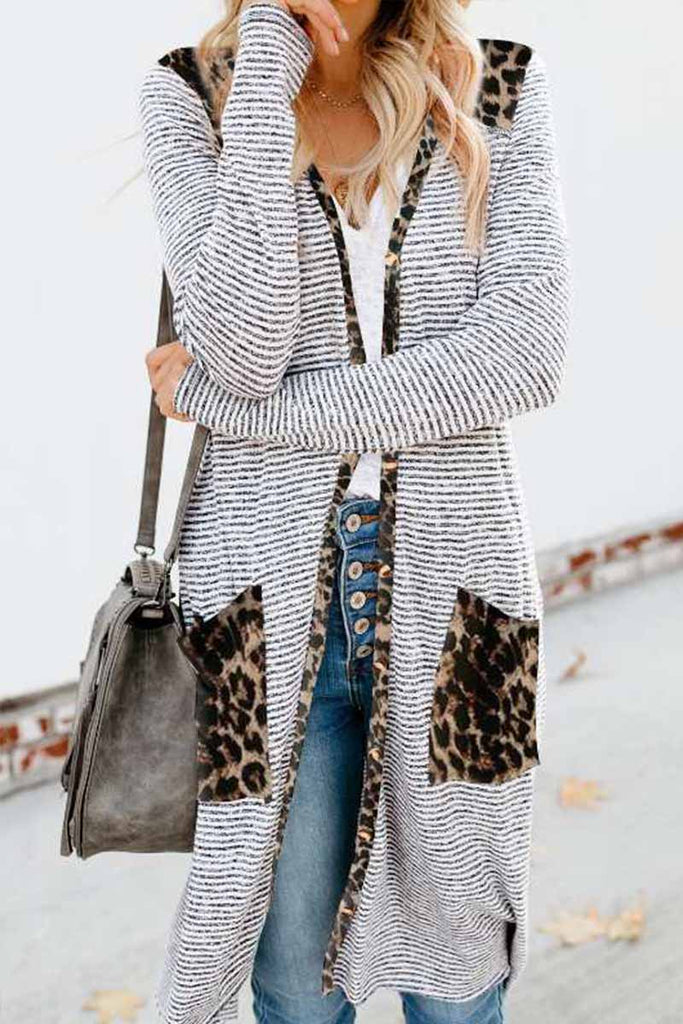 Florcoo Loose Leopard Print Knitted Cardigan
