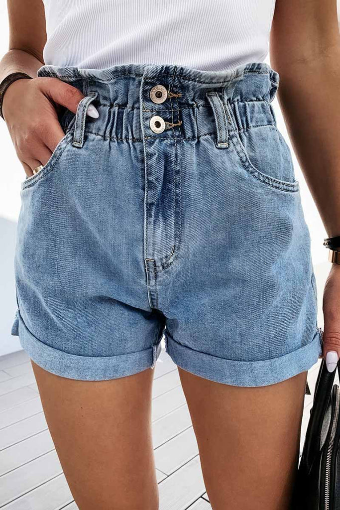 Florcoo Casual Straight High Waist Shorts