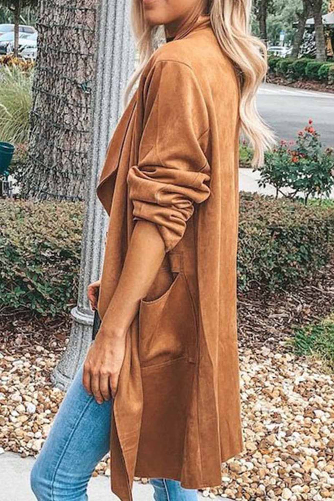 Florcoo Deerskin Fleece Long Sleeve Coat Tops