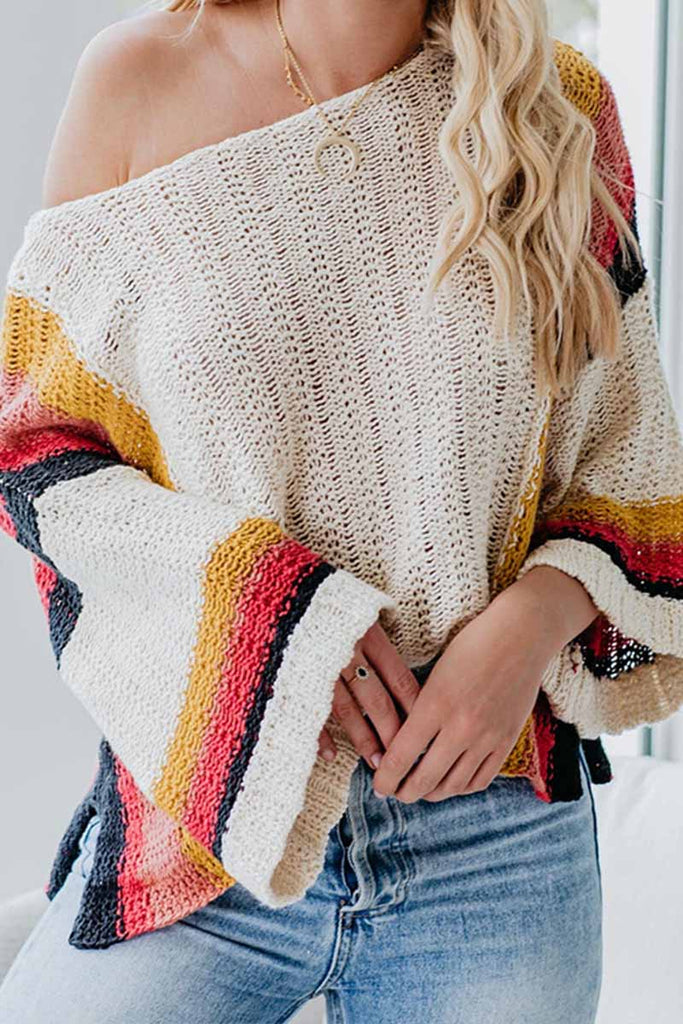 Florcoo Stitched Knitted Rainbow Sweater