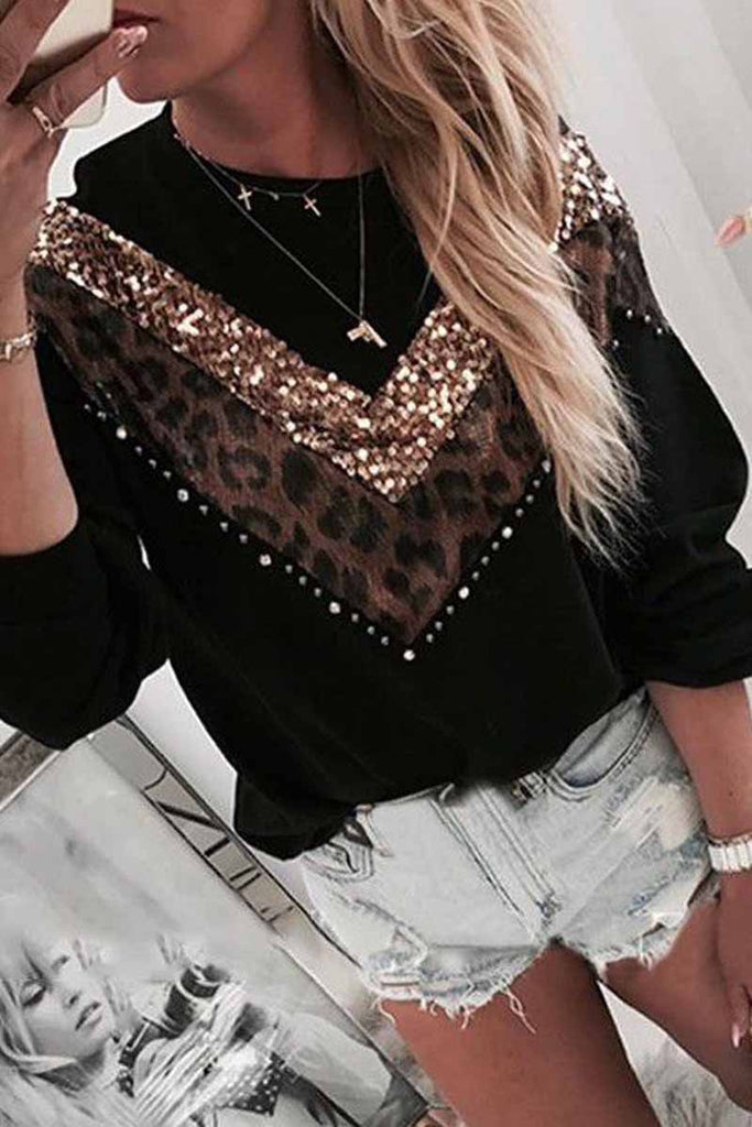 Florcoo Leopard Sequin O-Neck Top
