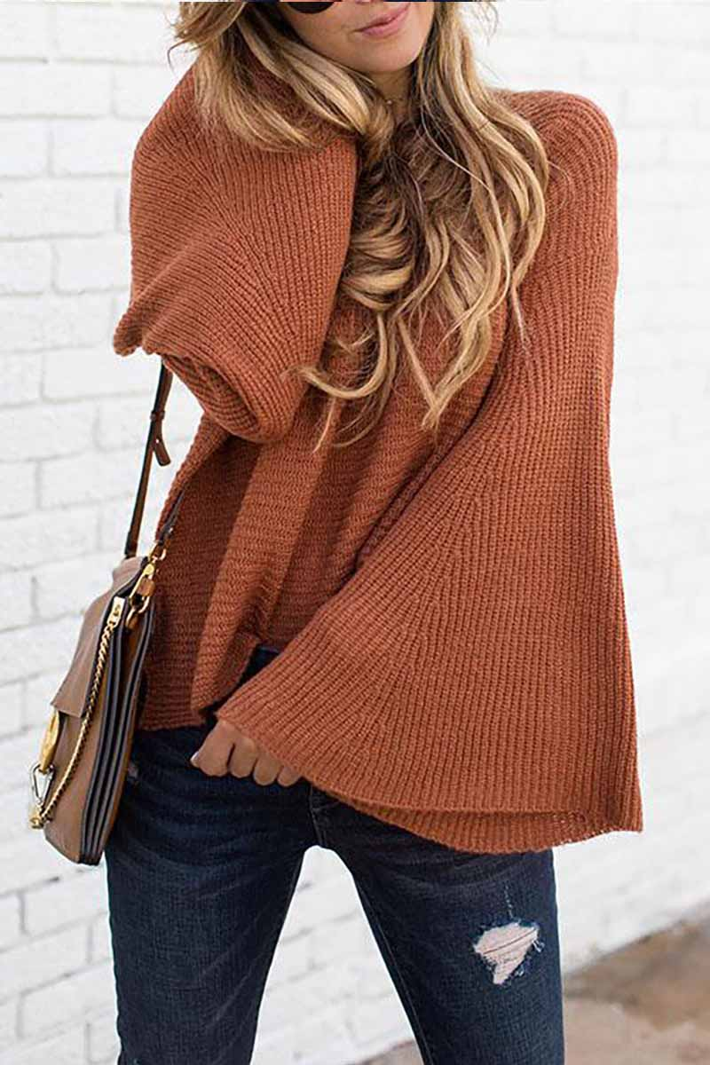 Florcoo Fashion Wide Sleeve Knitted Sweater