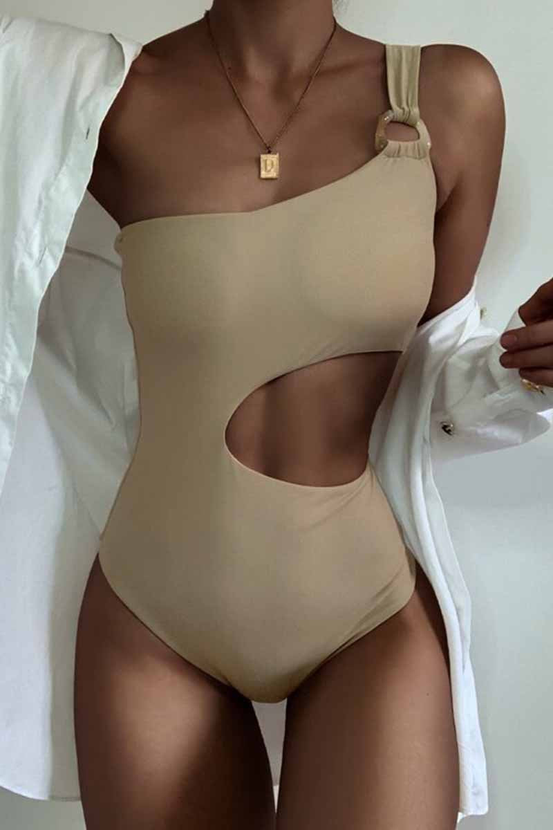 Florcoo One-Shoulder Sexy Leaky Waist One-Piece Swimsuit