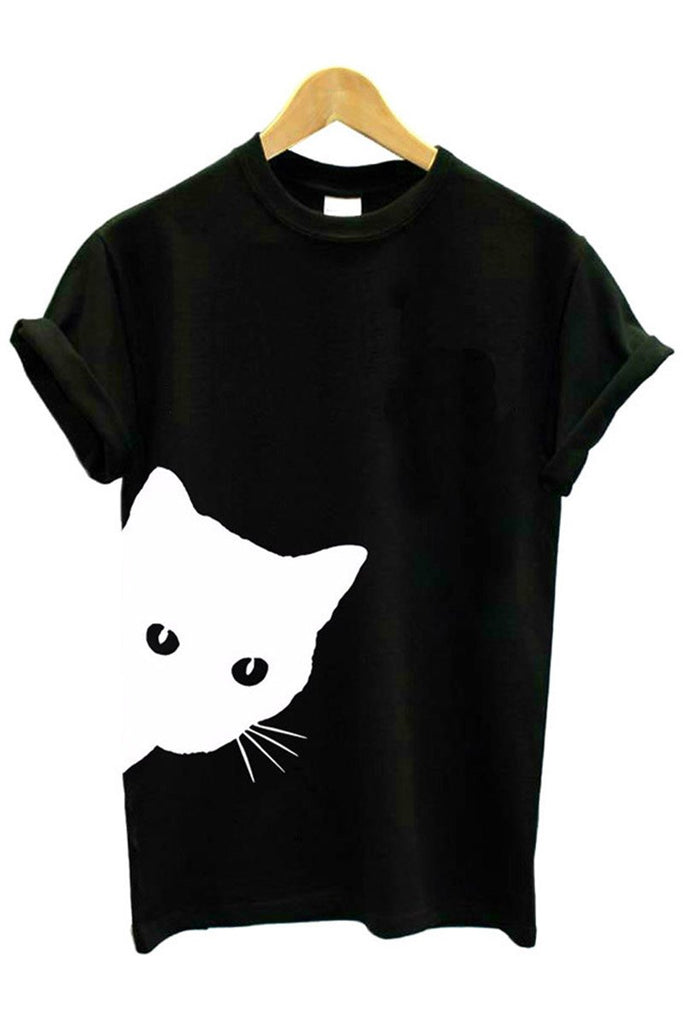 Florcoo Cat Print Cute T-shirt