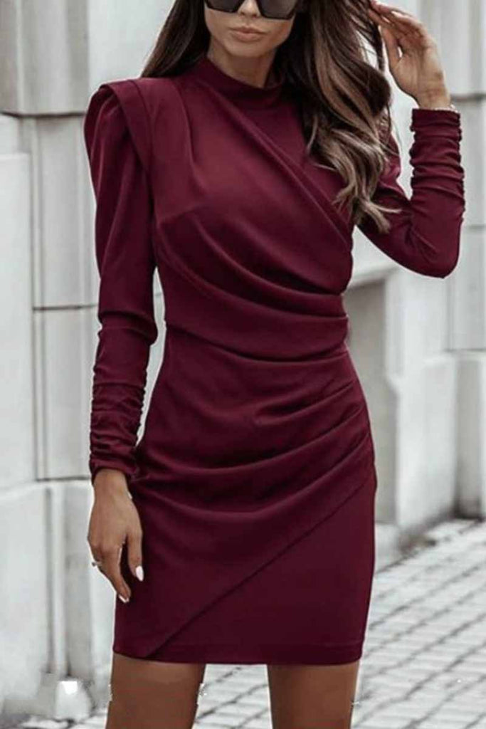 Florcoo Irregular Solid Collar Mini Dress