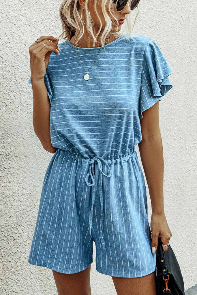 Florcoo Casual Ruffled O-neck Romper