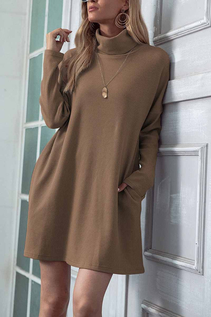 Florcoo Solid Color Round Neck Dress