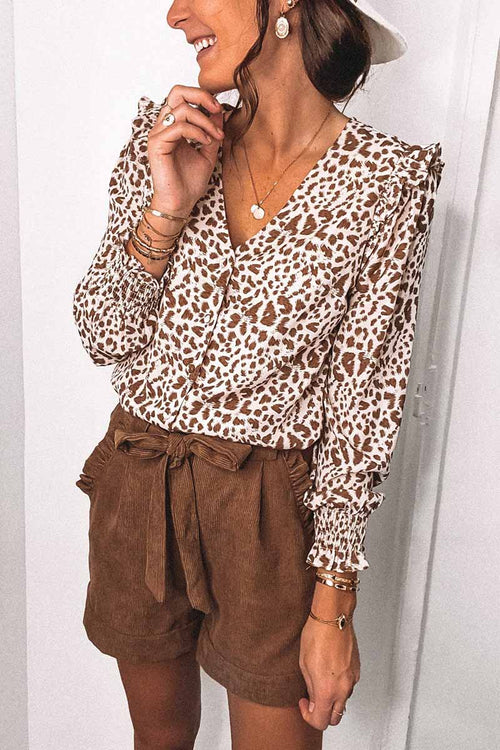 Florcoo V-Neck Spotted Leopard Print Long-Sleeved Shirt