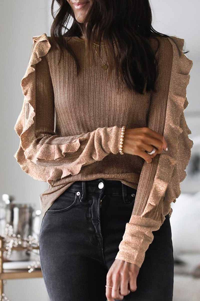 Florcoo Spring Ruffled Long-Sleeved Tops