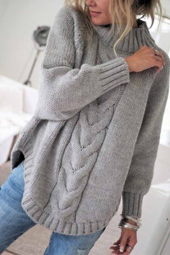 Florcoo Turtleneck Sweater Loose Knitted Pullover Jumper Winter Streetwear