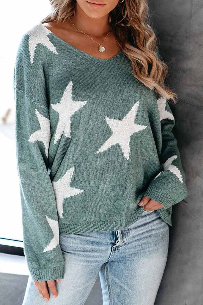 Florcoo Cute Star V Neck Loose Sweater
