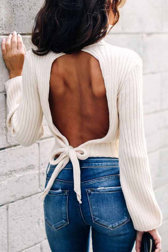 Florcoo Open Back High Neck Lace Long Sleeve Sweater