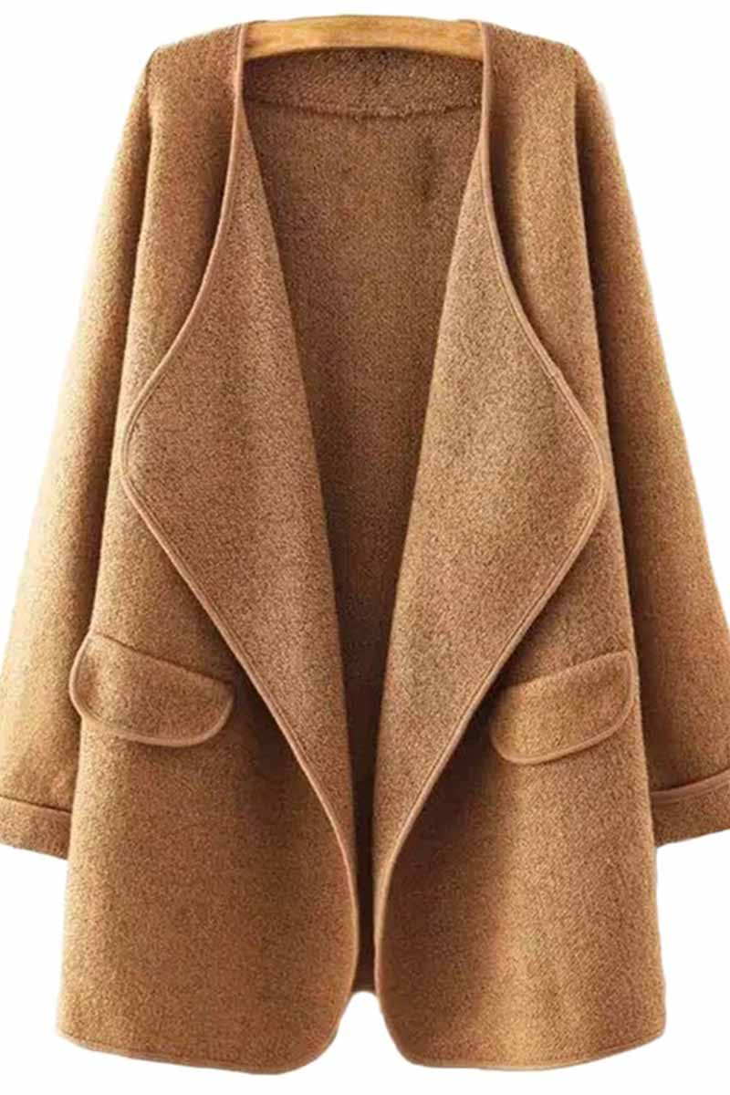 Florcoo Solid Color Loose Coat With Pockets