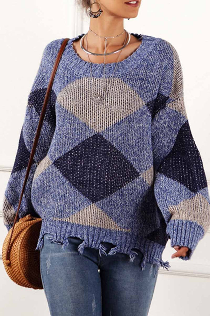 Florcoo Irregular Print Round Neck Sweater