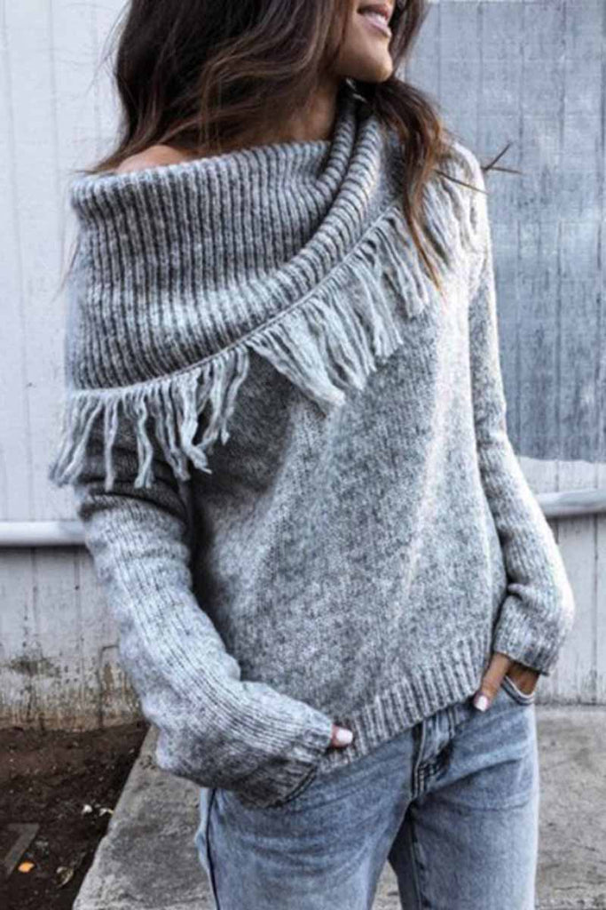 Florcoo Shawl Fringed Knitted Sweater