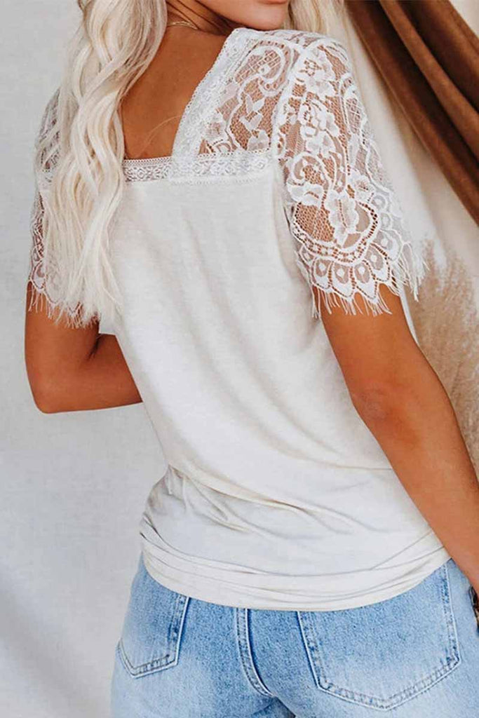 Florcoo New Women's Lace Short Sleeve V-Neck Tops