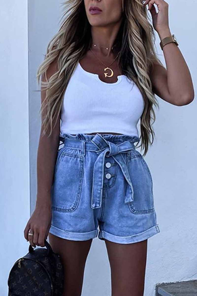 Florcoo Denim Shorts With Loose Buttons