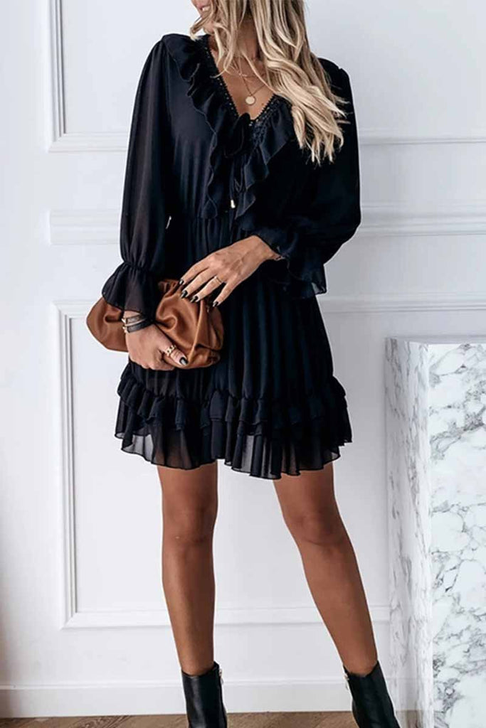 Florcoo Sexy Black Lace Puff Sleeve V-Neck Lace Mini Dress